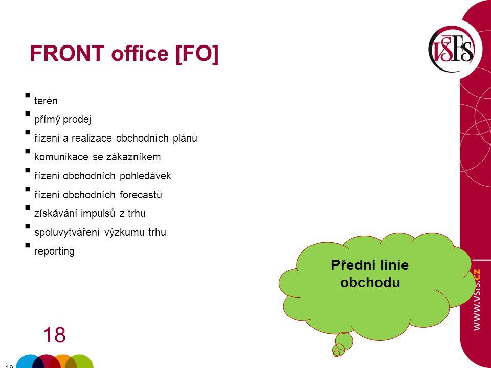 FRONT office [FO] Přední linie obchodu terén přímý prodej